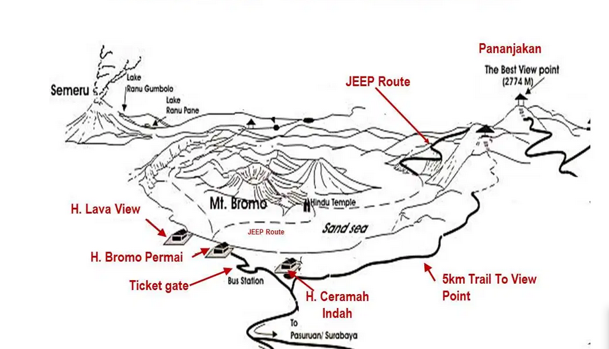 mount bromo map - Bromo Tour Package 2 Days